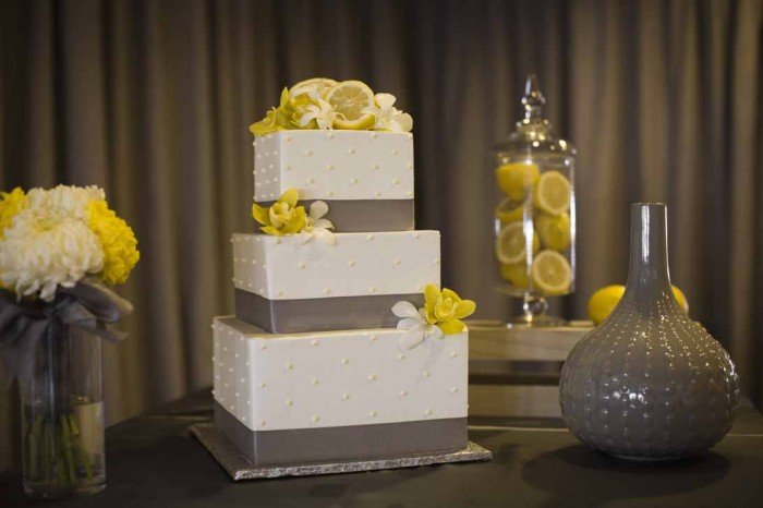 good affair wedding design simply sweet cakery gray and yellow cake