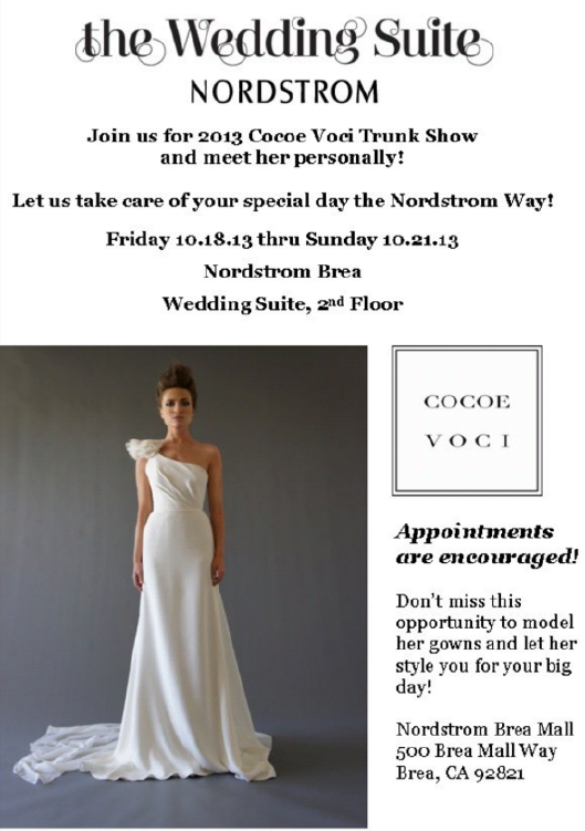 OC Happenings ~ Nordstrom\'s Wedding Suite Trunk Show with Cocoe ...