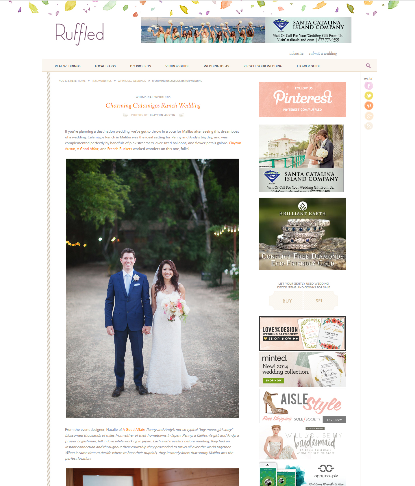 Featured on Ruffled ~ Penny & Andy, Calamigos Ranch ... Ruffled Blog