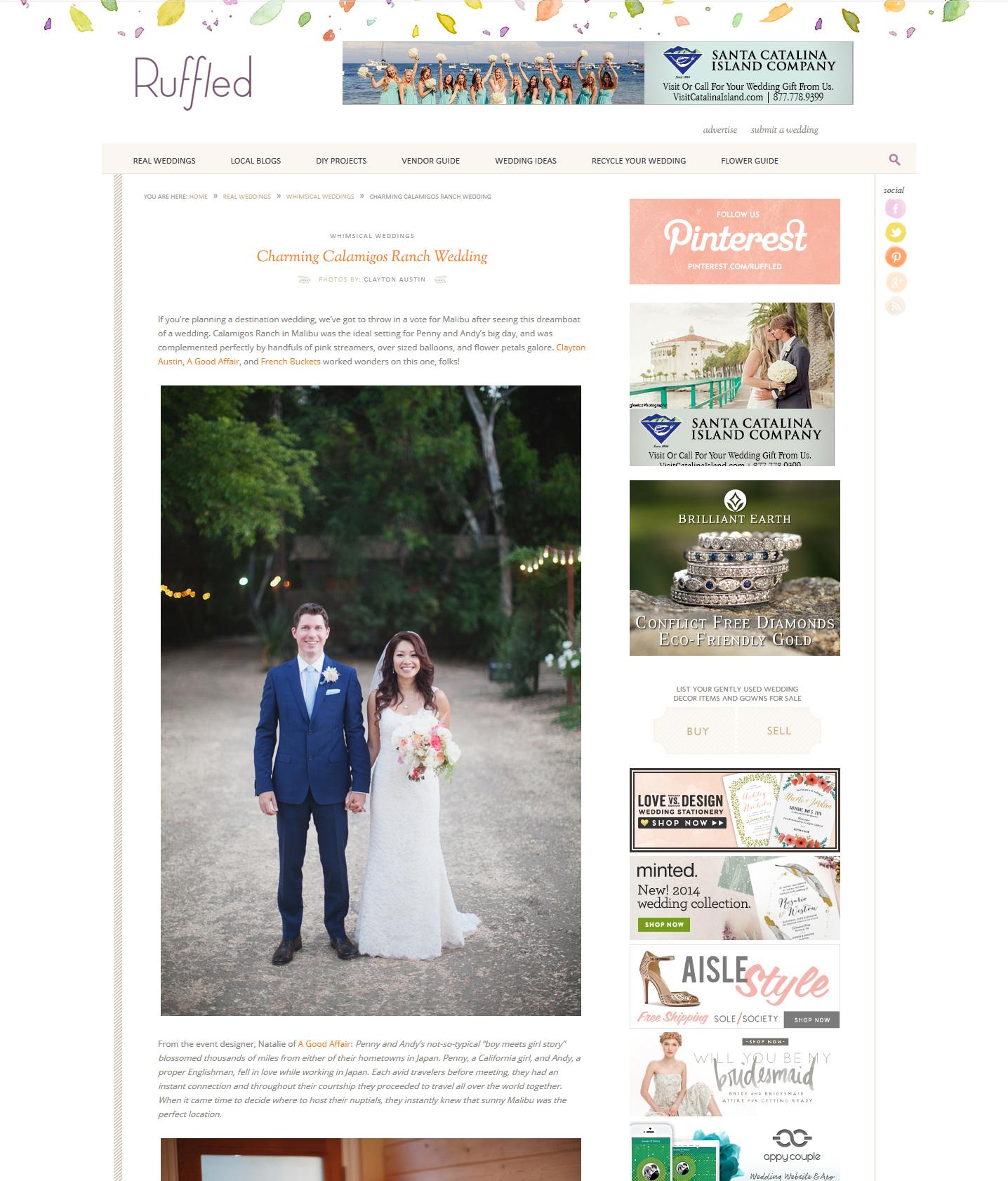 Ruffled Wedding Blog, Calamigos Ranch Wedding feature, Whimsical charming fun wedding, destination wedding, A Good Affair Wedding & Event Production