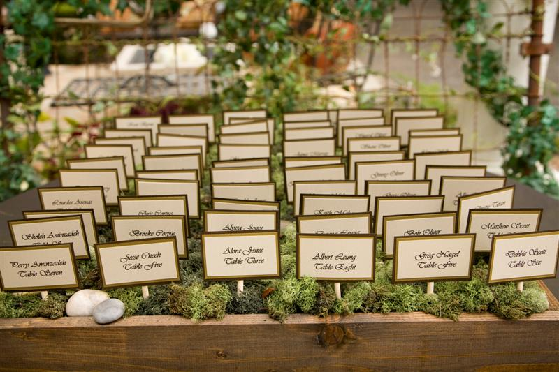 We made these custom boxes to display their escort cards