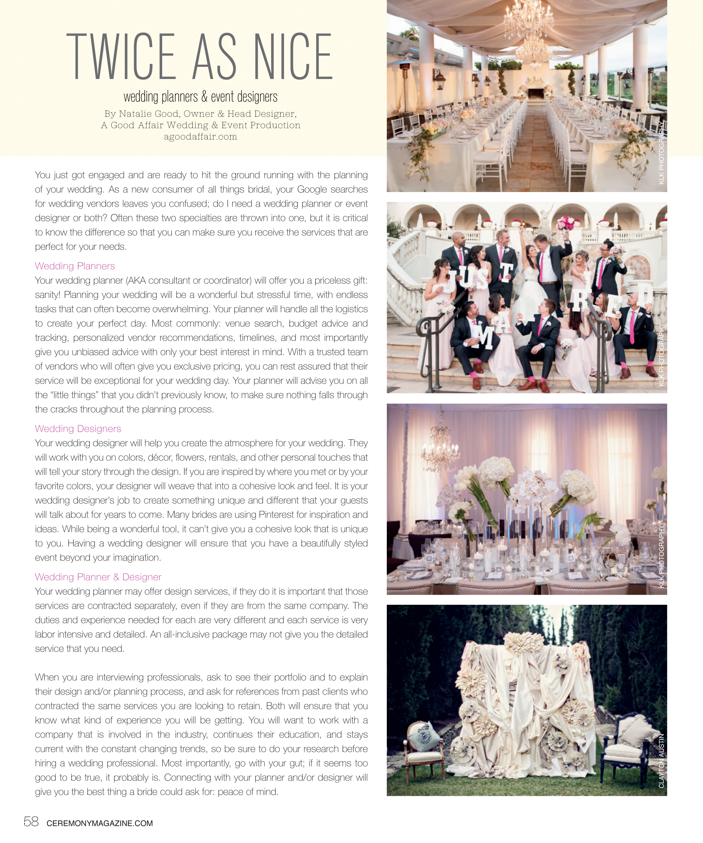 Ceremony Magazine, A Good Affair Wedding & Event Production