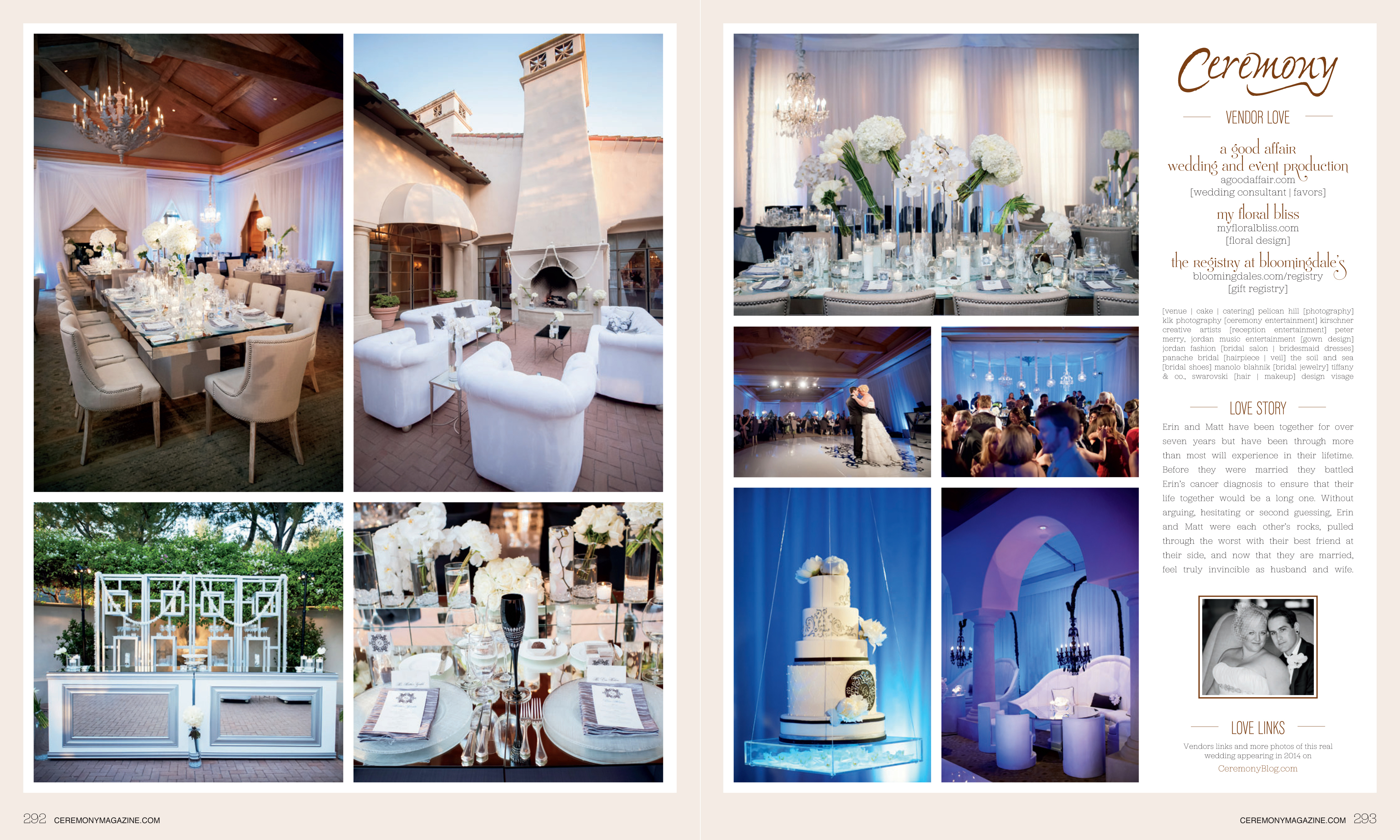 Ceremony Magazine Orange County, A Good Affair Wedding & Event Production, Pelican Hill Wedding feature