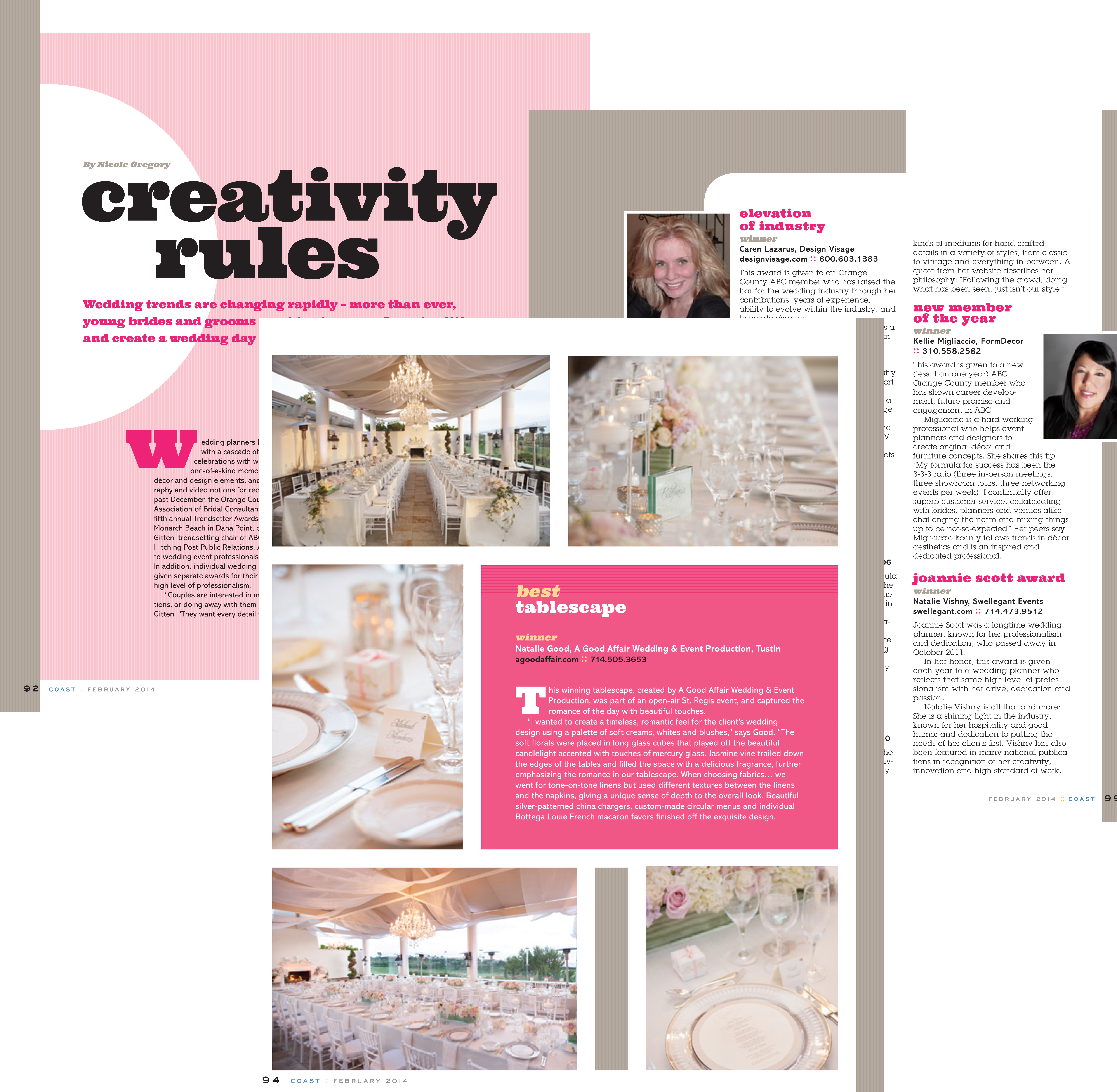 Coast Feb 2014 Trends, A Good Affair Wedding & Event Production