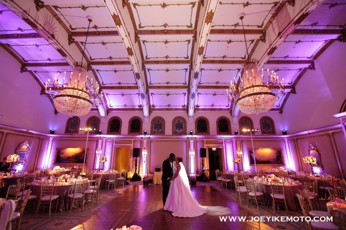 Langham Huntington Pasadena wedding A Good Affair Wedding & Event Production purple uplighting