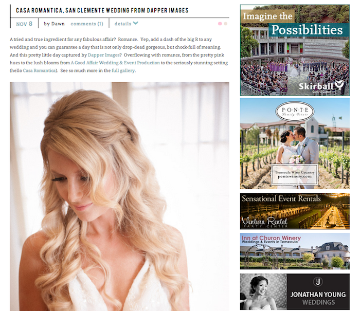 Style Me Pretty Feature ~ A Good Affair Wedding & Event Production ~ Dapper Images ~Casa Romantica