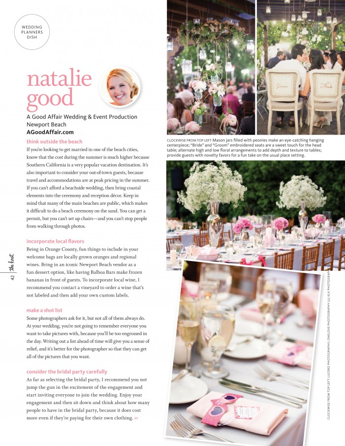The Knot Magazine, Wedding Planner Orange County, Southern California Wedding Planner, Natalie Good, A Good Affair Wedding & Event Production