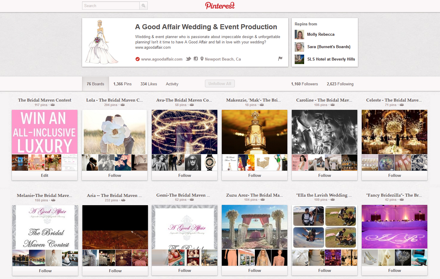 A Good Affair Wedding & Event Production, Bridal Maven Pinterest Contest