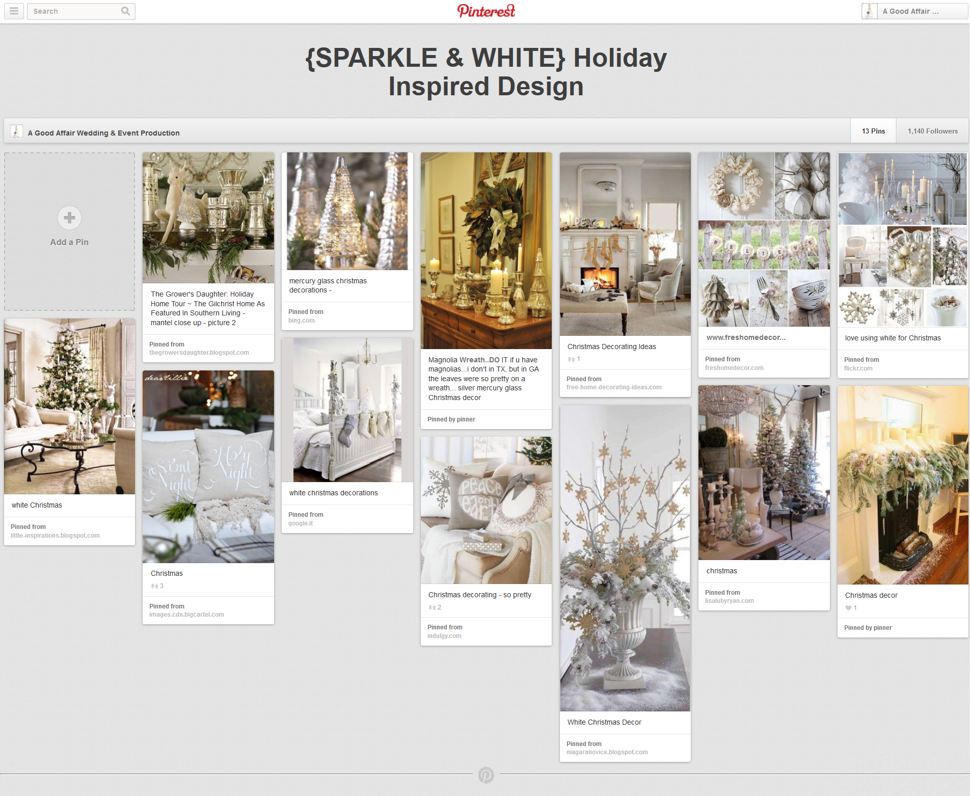 Holiday Inspiration, Sparkle and White Holiday decor, A Good Affair Wedding & Event Production