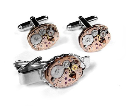 Steampunk Cufflinks - Vintage CUFFLINK AND TIE BAR SET - Incredible SCARCE PETITE ROSE GOLD WATCH MOVEMENTS - STUNNING ROSE GOLD OMEGA STYLE WATCH....SMARTLY PRICED - THINK WEDDING, ANNIVERSARY or SIMPLY I LOVE YOU....YET ANOTHER edmdesigns EXCLUSIVE