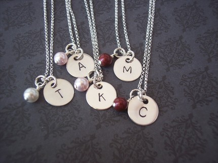 Hand Stamped SIMPLICITY sterling silver initial necklace with pearl
