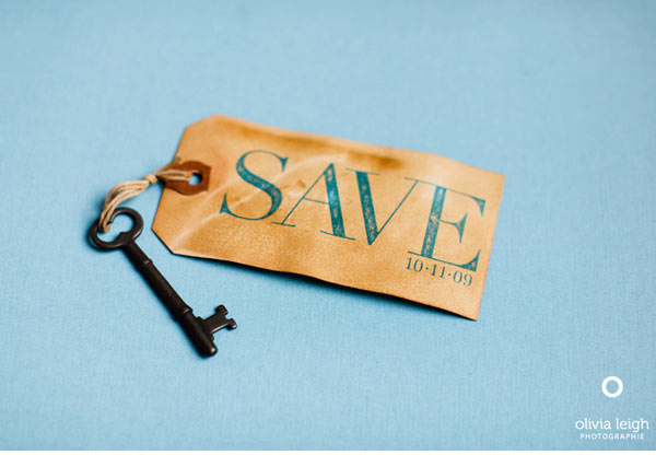 Vintage skeleton key save the date handmade DIY wedding invitations gocco