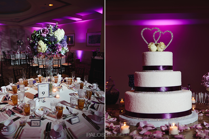 waterfront hilton wedding, palos studio, a good affair wedding & event production, purple and silver wedding